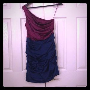 Magenta and Navy rouched mini